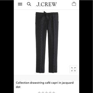 Jcrew Collection Drawstring Capri in Jacquard Dot